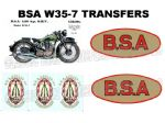 BSA W35-7 Transfers Decals Set DBSA180